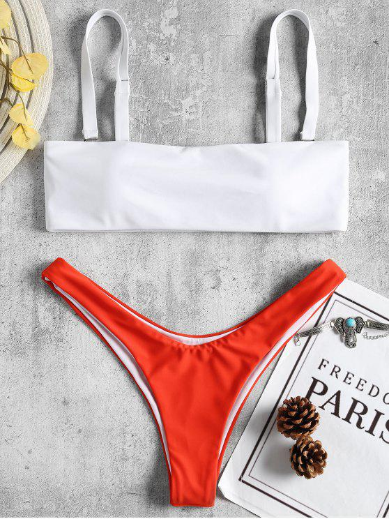 Bikini à Deux Tons - Rouge M