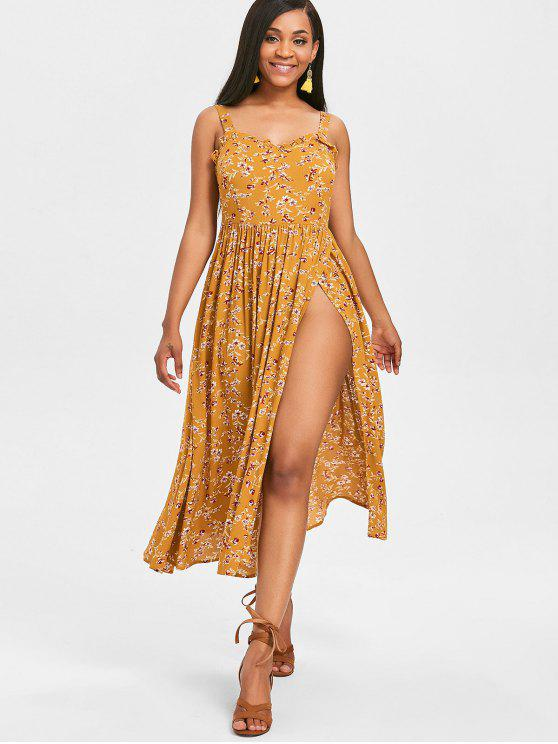 159b0ebd9b27 24% OFF] 2019 Floral Slit Cami Flowy Dress In BEE YELLOW | ZAFUL