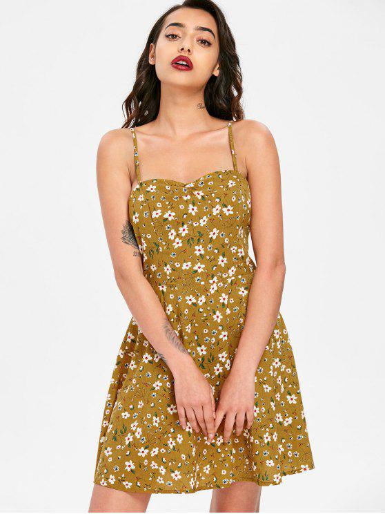 best Floral Print Mini Cami Dress - ORANGE GOLD M