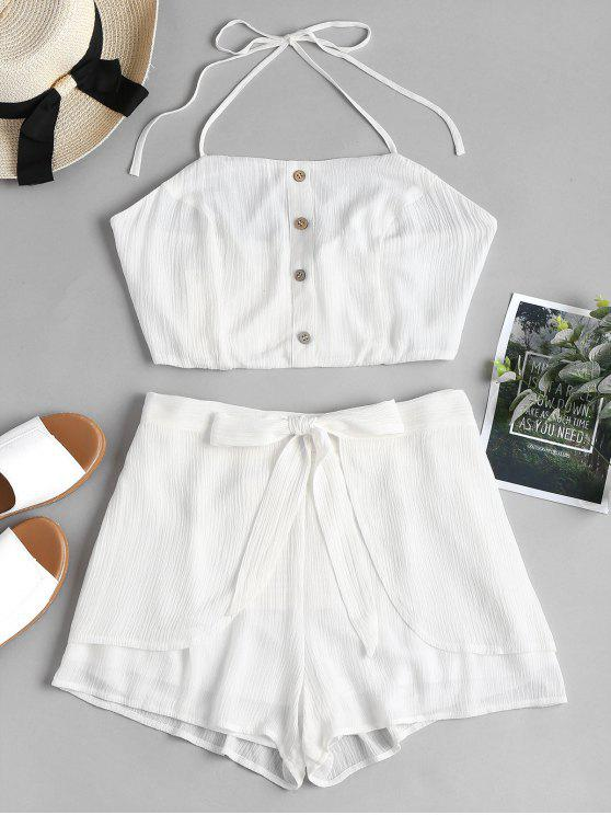77c36c32743fe 29% OFF] 2019 High Waisted Petal Shorts Two Piece Set In WHITE | ZAFUL