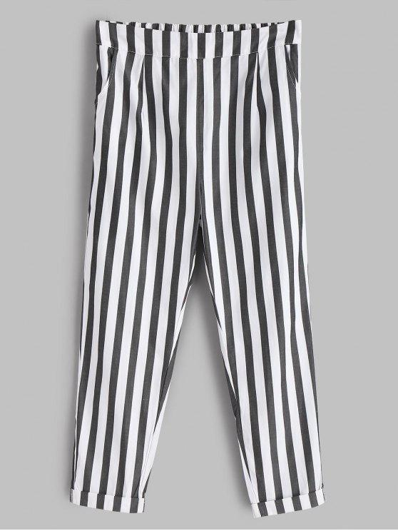 women's Striped Cuffed Pants - WHITE M