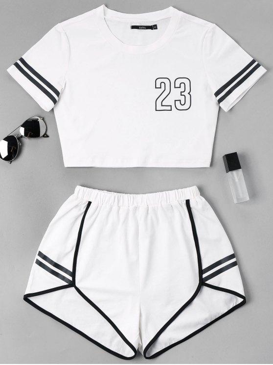 Kontrast Bindung Kerbe Shorts Zweiteiliges Set - Weiß L
