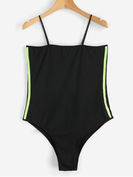 women Striped Ribbons Trim Slip Bodysuit - BLACK S