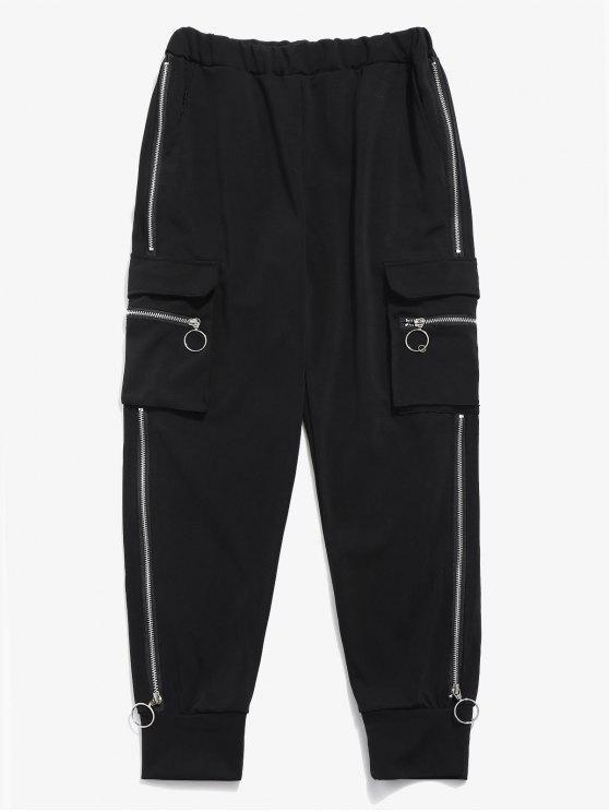 women Side Pocket Zippers Jogger Pants - BLACK S