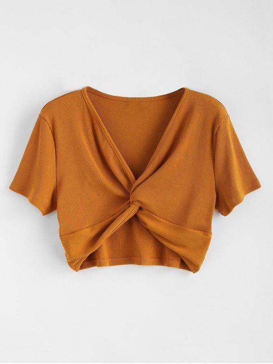 buy Ribbed Twist Cropped Top - LIGHT BROWN L