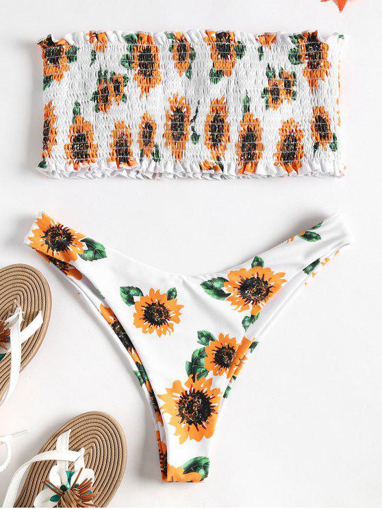 Bikini deshilachado de girasol sin tirantes - Multicolor L
