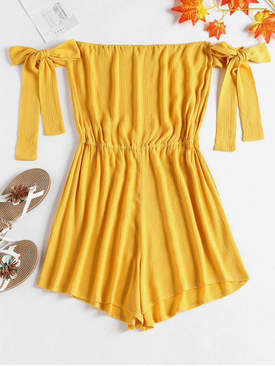 9cb1ba34b20 24% OFF  2019 Off Shoulder Knotted Romper In RUBBER DUCKY YELLOW