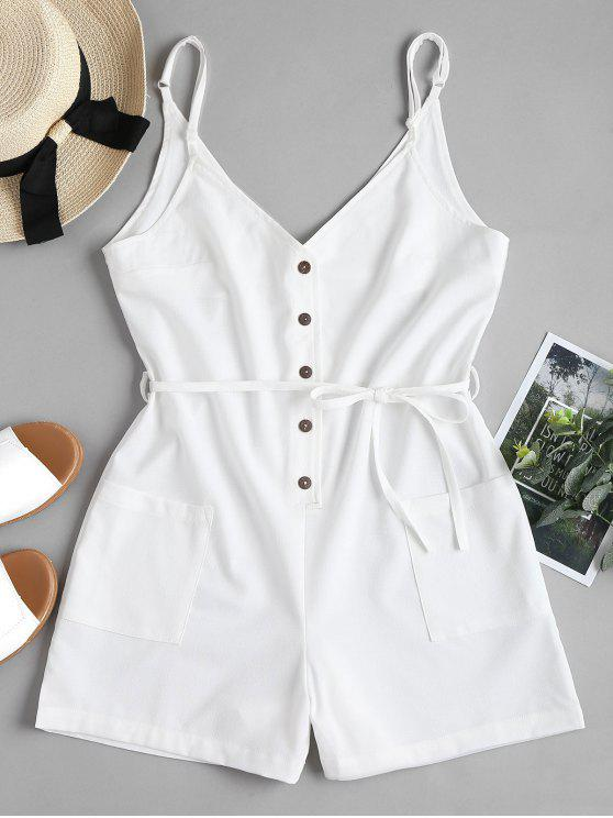 Belted Button Up Slip Romper - Blanco L