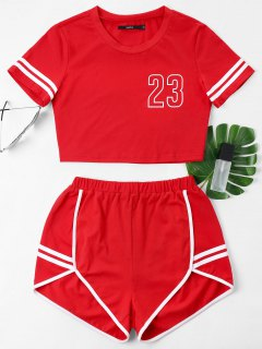 Contrast Binding Notch Shorts Two Piece Set - Lava Red S