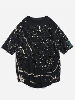 T-shirt à Fente Sur Le Côté Imprimé à L'ourlet Brut - Noir 2xl