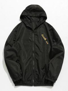 Hooded Print Zip Windbreaker Jacket - Black M
