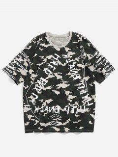 Camo Letter Print Tee - Camouflage Green L