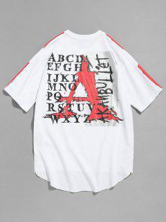 Asymmetric Slit Raw Hem Print Tee - White S