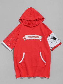 Camiseta De Bolsillo Con Diseño De Canguro Estampado - Rojo 2xl