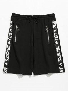 Letter Print Zip Grommets Shorts - Black M
