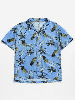 Hawaii Pineapple Print Beach Shirt - Baby Blue L