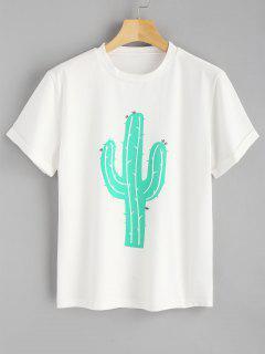 Camiseta Enrollada Del Cactus De La Manga - Blanco L