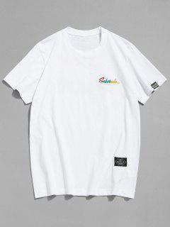 T-shirt à Motifs Brodé - Blanc 2xl