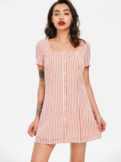 Striped Square Neck Dress - Chestnut Red L