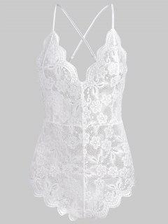 Crisscross Lace Teddy - White L