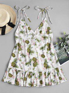 Floral Tie Shoulder Mini Swing Dress - White L