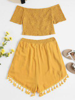 High Waisted Shorts Two Piece Set - Bee Yellow M