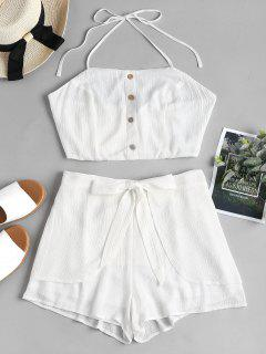 High Waisted Petal Shorts Two Piece Set - White M