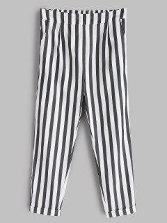 Striped Cuffed Pants - White M