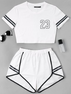 Contrast Binding Notch Shorts Two Piece Set - White L