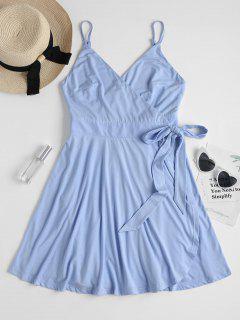 Mini Wrap Slip Dress - Day Sky Blue S