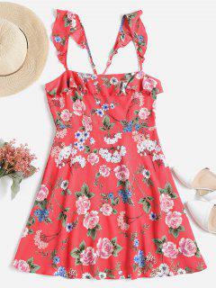 Mini Robe De Thé à Volants à Fleurs - Rose Pastèque S