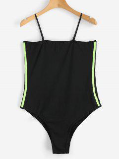 Striped Ribbons Trim Slip Bodysuit - Black M