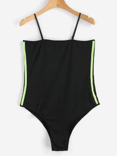 Striped Ribbons Trim Slip Bodysuit - Black L