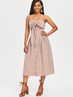 Knotted Gingham Slip Dress - Multi L