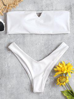 V-Cut Bandeau Thong Bikini Set - White L