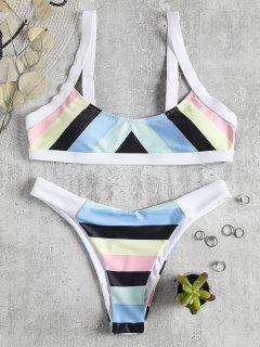 Bikini Rayé à Rayures Arc-en-ciel - Multi S