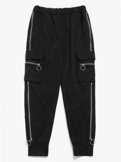 Side Pocket Zippers Jogger Pants - Black M