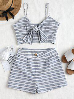 Tie Front Striped Top And Shorts Set - Blue Gray L