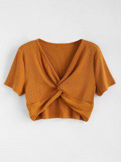Ribbed Twist Cropped Top - Light Brown M