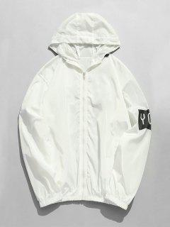 Hooded Zip Print Windbreaker Jacket - White M