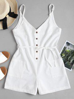 Belted Button Up Slip Romper - White M