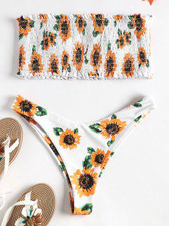 Strapless Sunflower Smocked Bikini - Multi S