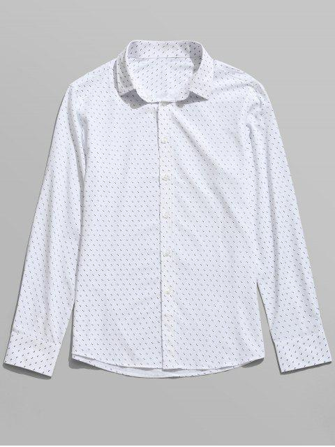 Langarm Gedrucktes Shirt - Weiß XL  Mobile
