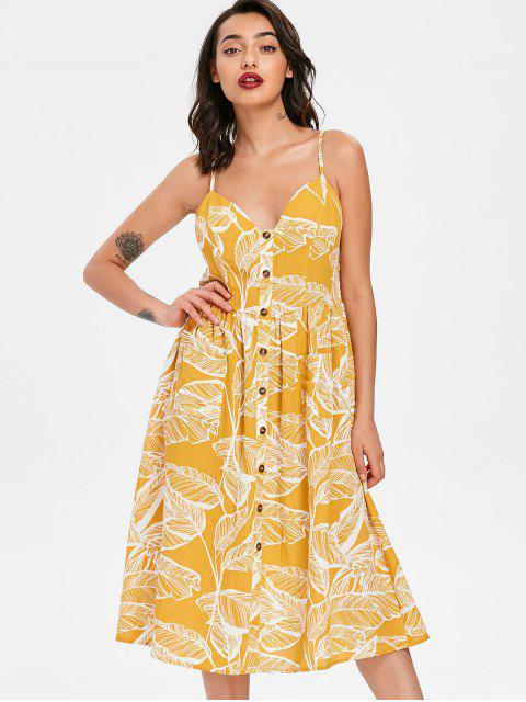 Robe Smockée Imprimée Feuille à Bretelles - Jaune S Mobile