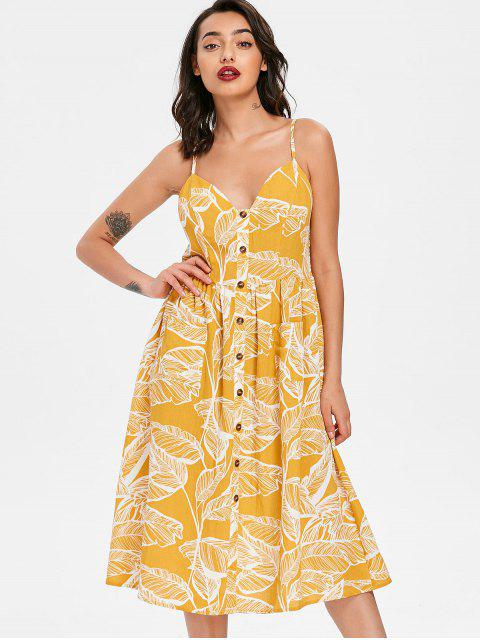 unique Leaves Print Smocked Cami Dress - YELLOW L Mobile