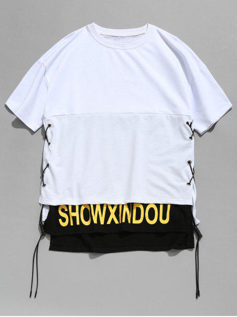 Camiseta con cordones con diseño de hendidura - Blanco XL Mobile