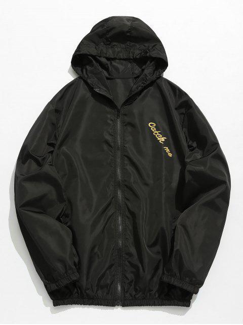 online Hooded Print Zip Windbreaker Jacket - BLACK S Mobile
