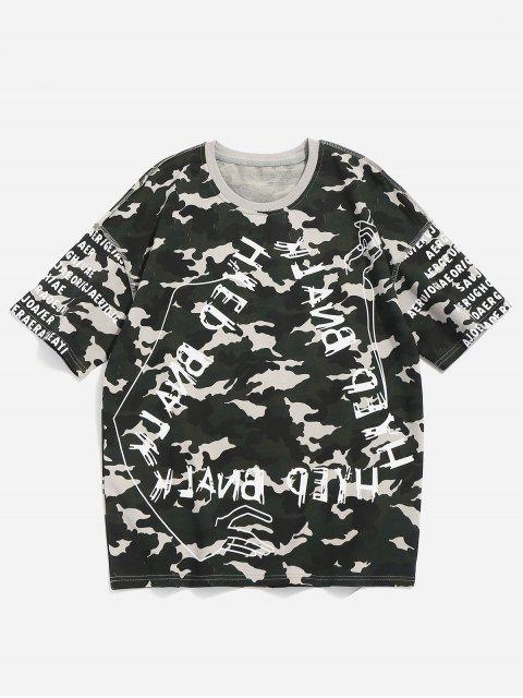 hot Camo Letter Print Tee - CAMOUFLAGE GREEN M Mobile