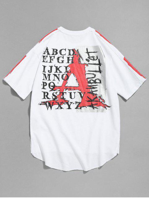 Camiseta con estampado de dobladillo sin rematar asimétrico - Blanco XL Mobile