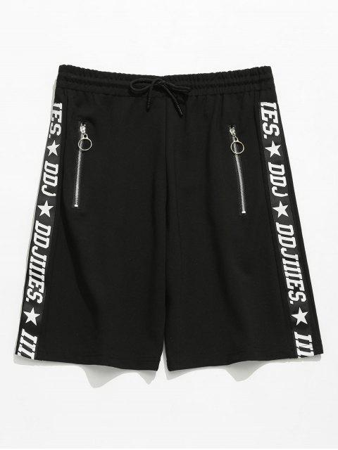 Letter Print Zip Grommets Shorts - Negro M Mobile